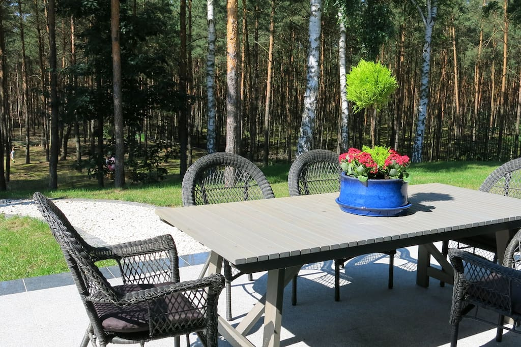 Patio area overlooking the wooded part of the property.Private and quiet.