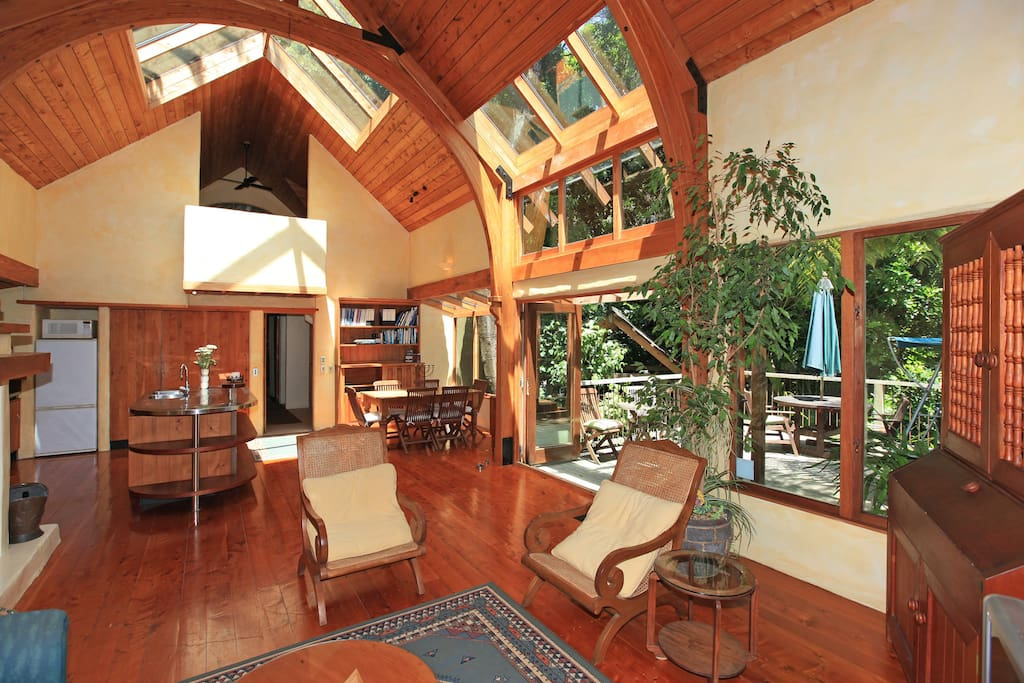 Many skylights and windows look onto the tree trunks and canopies.