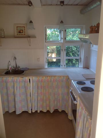 Lovely kitchen with microwave, refrigerator and frigde.