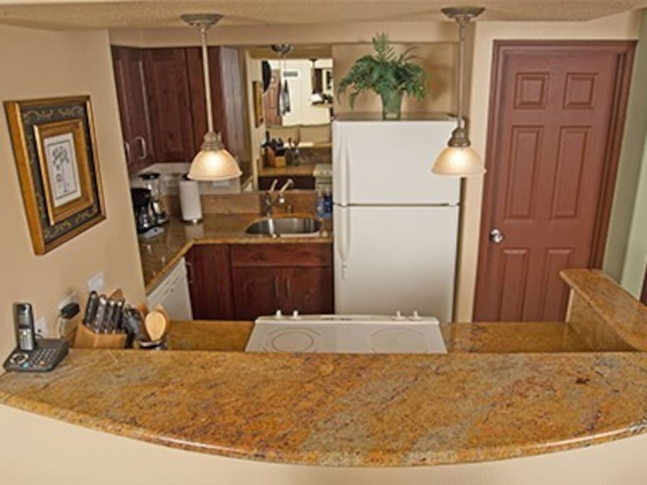 We have full kitchen with granite counters.