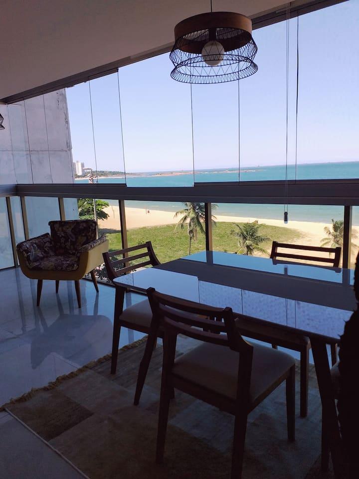 Apto MAGNÍFICO de frente p/ MAR da Praia da Costa!