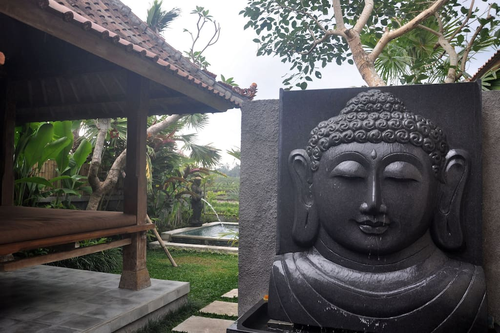 ENTRY TO BALI UBUD VILLA, WITH BUDDHA FOUNTAIN AND TEA HOUSE