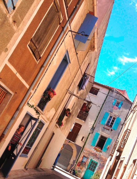 Colorful typical French village homes always kiss blue skies in your lovely Argeles-sur-Mer village holiday rental