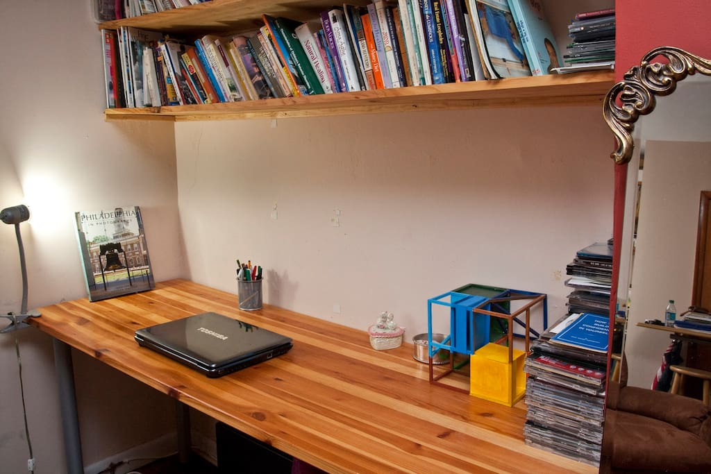 Bedroom has desk for your laptop