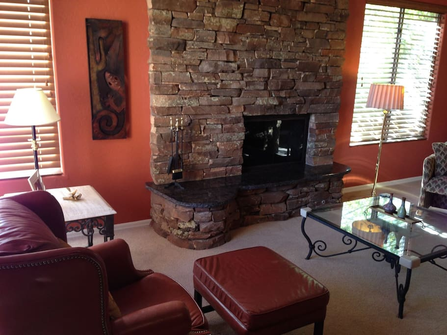 comfortable and warm living room with fireplace