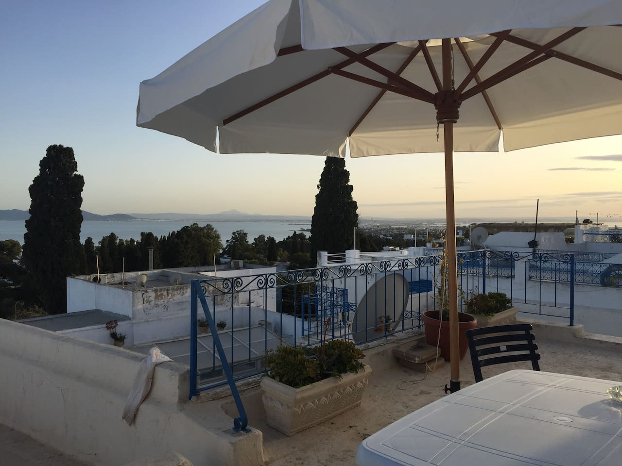 Upper terrace, view of bay of Tunis