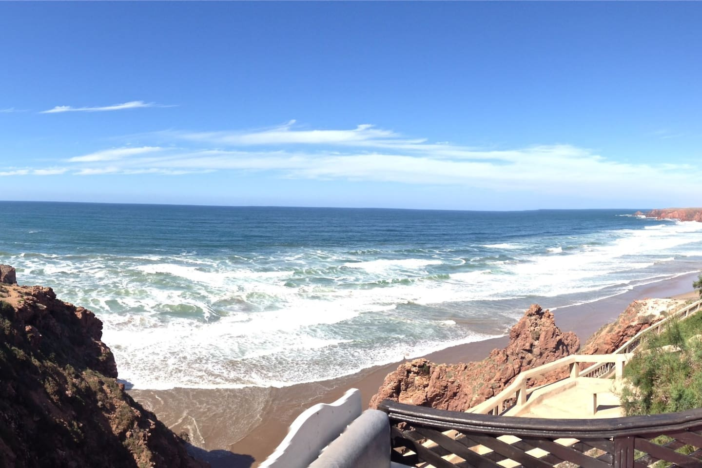 The breathtaking view of the Atlantic and Imintourga Beach from Sally's, Mirleft