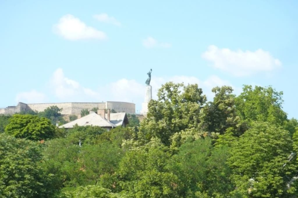 View from window: the Citadella Monument on Gellért Hill.