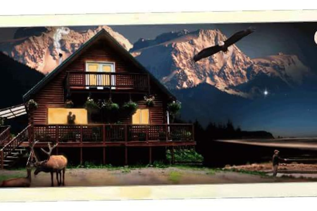 illistraded photo, there are no mountains behind the cabin.
