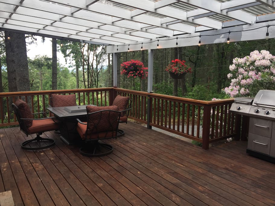 Front deck- includes gas fire pit, BBQ and great view!