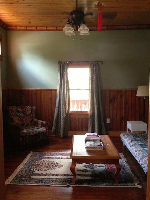 This is the Futon and living room, this room does not have a door, but it is semi private and a curtain can be hung over the doorway