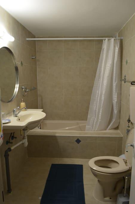 The bathroom has a bathtub with a shower