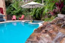 Private pool with stone waterfall - relax and enjoy the ultimate in serenity and privacy!