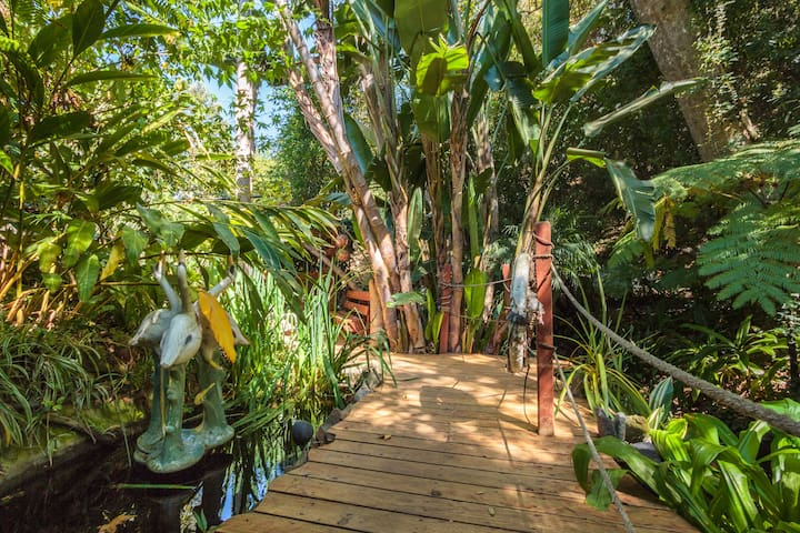 Alternate view of walkway to guest house by the creek.