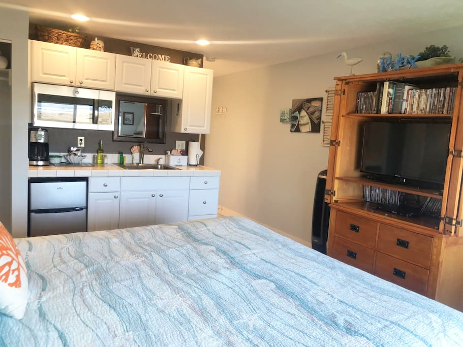 Comfortable King bed, E-Center, and Kitchenette