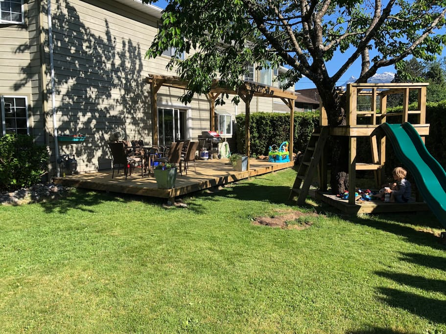 Sunny yard with fruit trees, tree house and slide