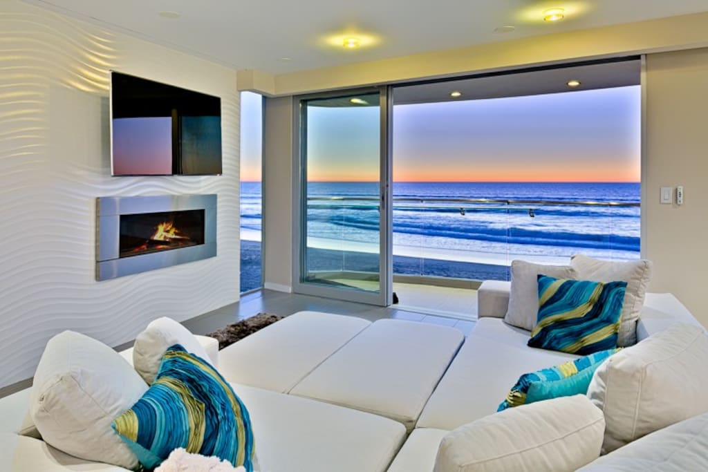 3rd Floor Family Room with Stellar Views, TV, and Fireplace.