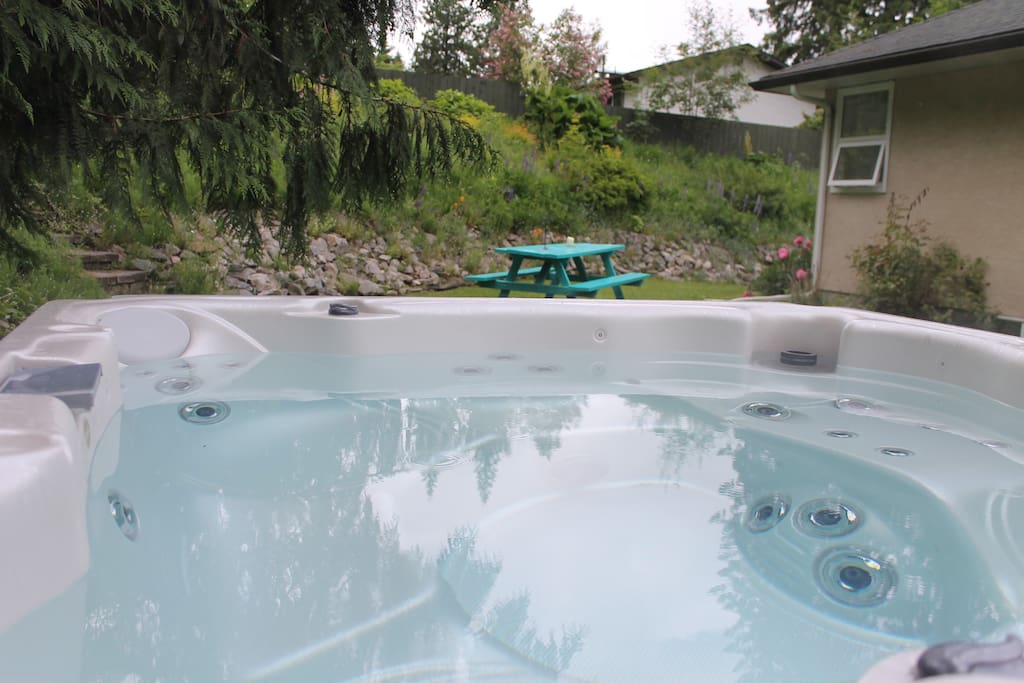 6 person hot tub in private backyard setting