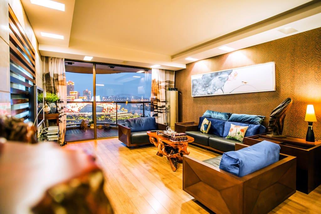 中式实木风观景客厅