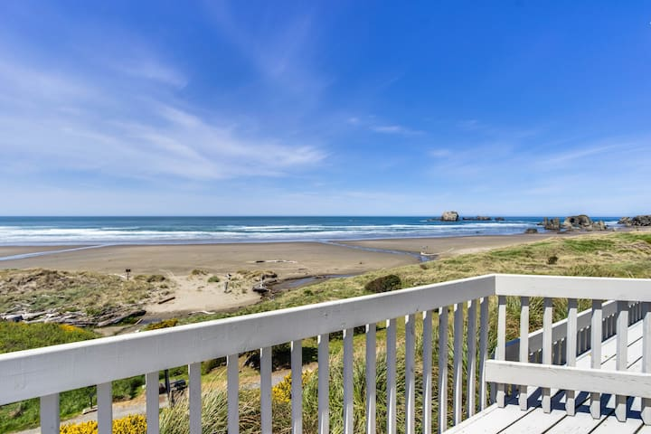 Dog-friendly, oceanfront home w/ beach access, cozy fireplace, and large deck
