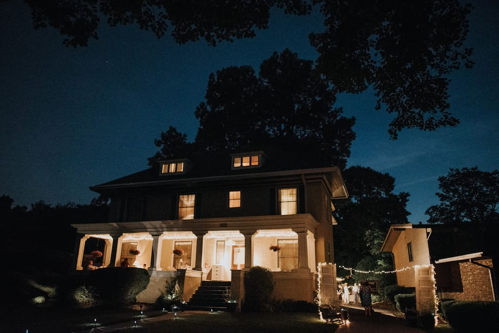 Here's the house at night.