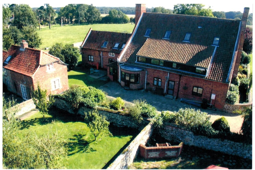 Rear aerial view of Dairy Cottage - left of main house