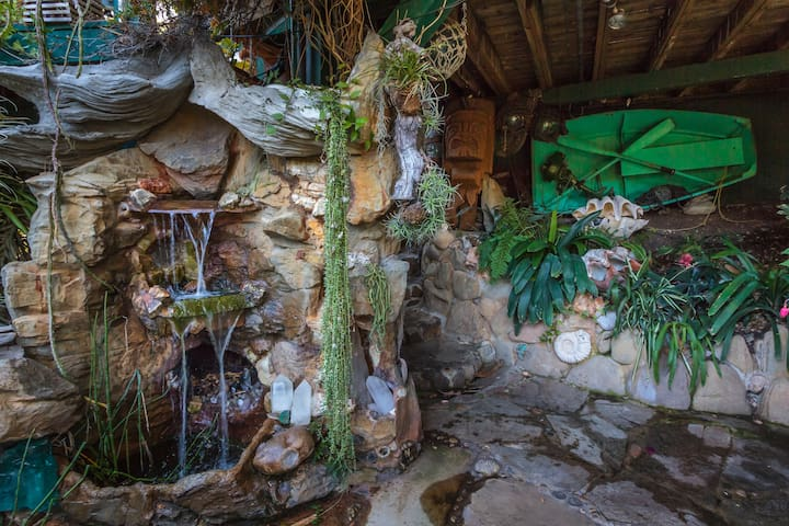 Rock Crystal Fireplace/Waterfall next to Jacuzzi