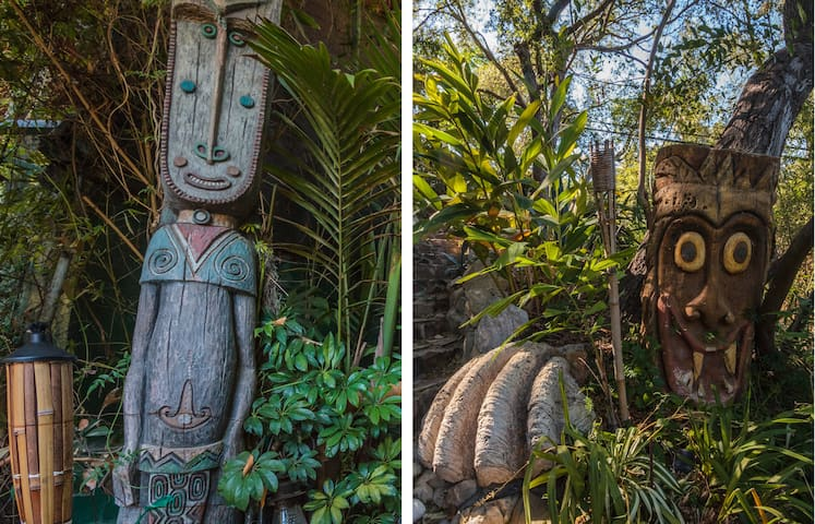 Many of the tikis scattered around the property.