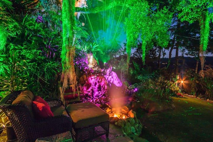 Alternate view of main patio at night