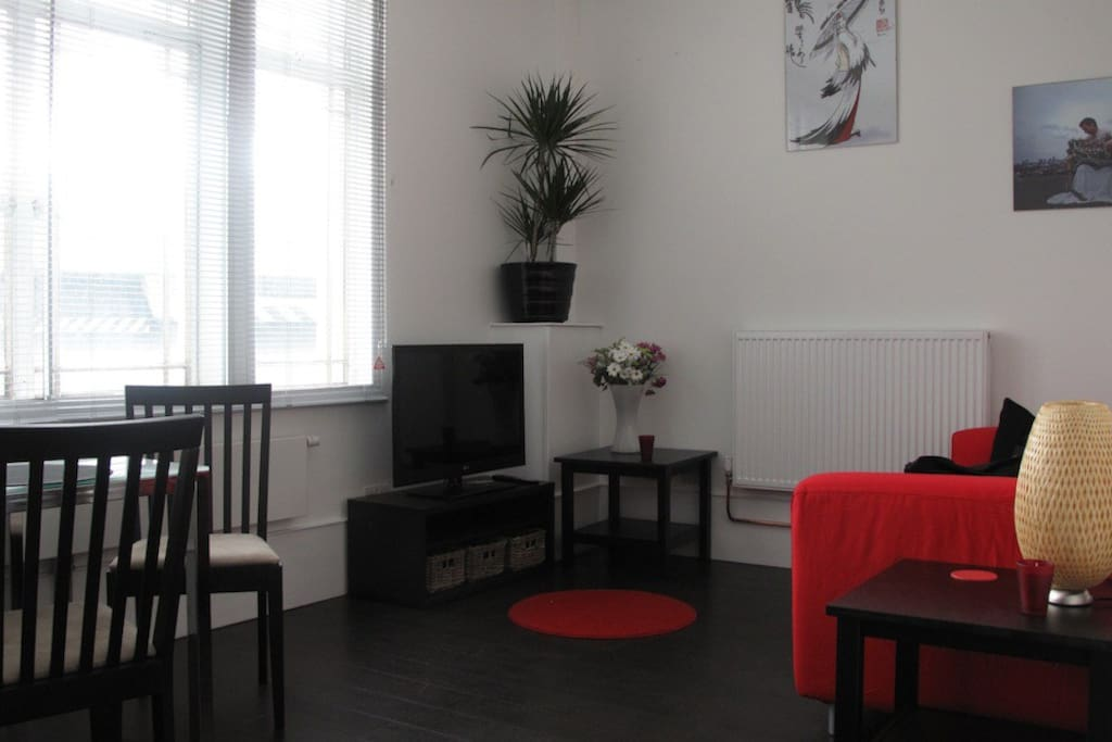 Flat screen TV, ipod ready sound system, cosy living room with sofabed
