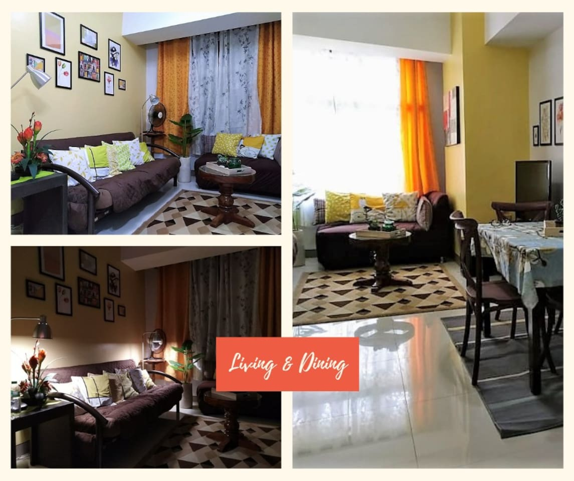 """LIVING AND DINING AREA  Spacious with comfortable sofa with carpet. 42"""" flat screen TV with TV plus connection,  wifi, local telephone connection. Lovely interior and furniture for a home experience."""
