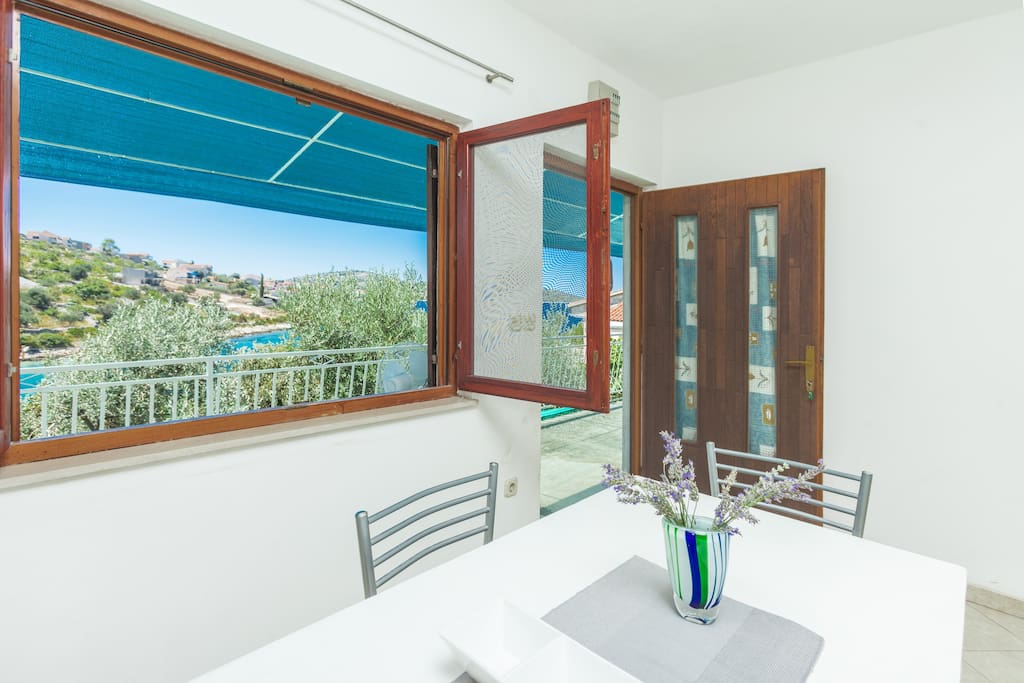 Completely new kitchen with view at sea