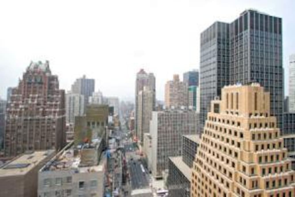 South-facing view from the building (Tudor City and Downtown Manhattan).