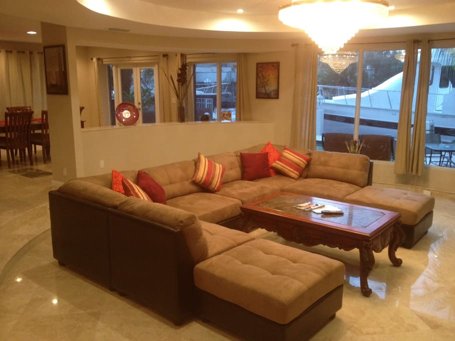 Family Room opens to Pool and Waterfront