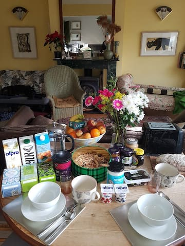 Breakfast  with Fairtrade fresh coffee or Pukka teas, homemade granola, plant based milk and yoghurt, juice , fresh bread/toast and jam, marmalade, peanut butter, or marmite with vegan butter or coconut oil. Fresh fruit. Bon appetit!