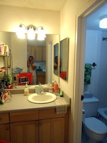 Separate bathroom and vanity.
