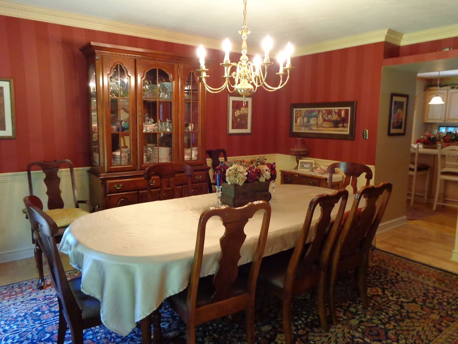 Formal dining room seats 12 people