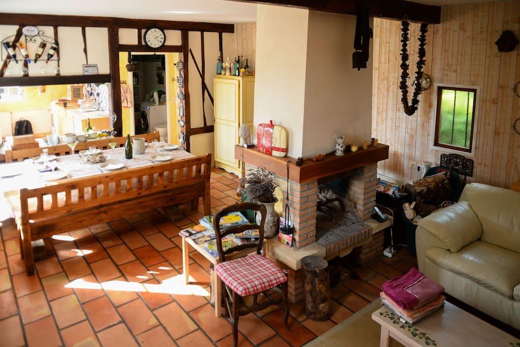 espace cuisine, salle à manger et salon en open space. Très convivial!