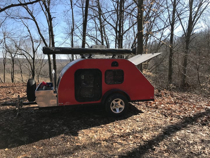 Teardrop Camper on campsite Beautiful Brown County