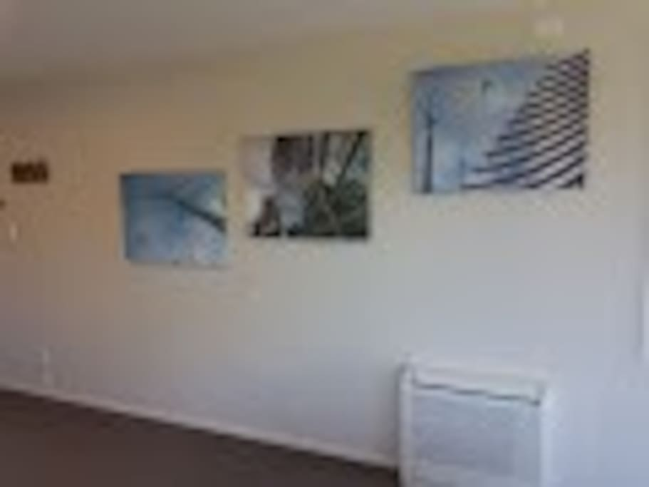 Lounge wall, views of Christchurch City Art Gallery. Heat pump heats and cools this studio.