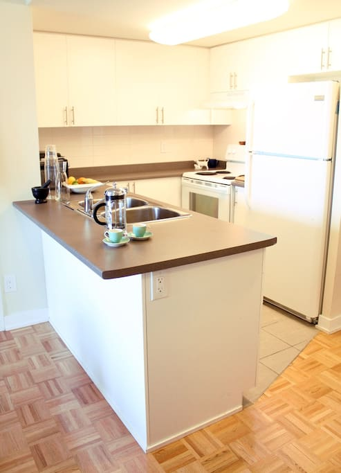 Fully stocked, open concept kitchen- help yourself to dishes, ice, spices, tea.