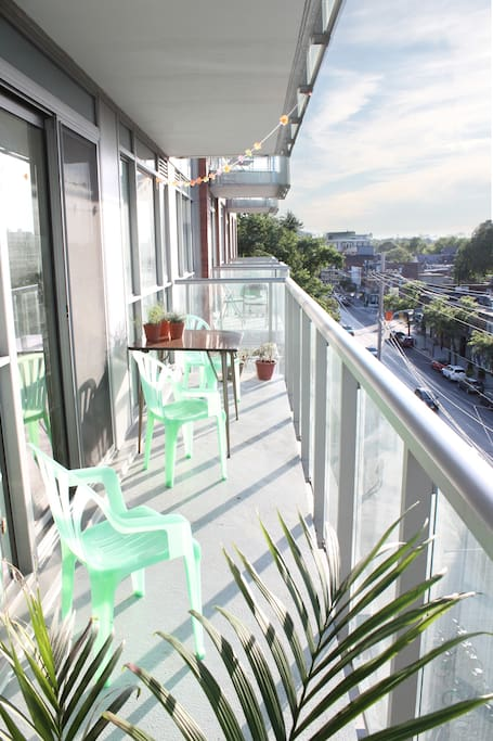 Large north facing balcony with a small garden and a beautiful view
