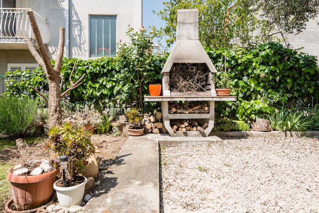 Barbacue in garden