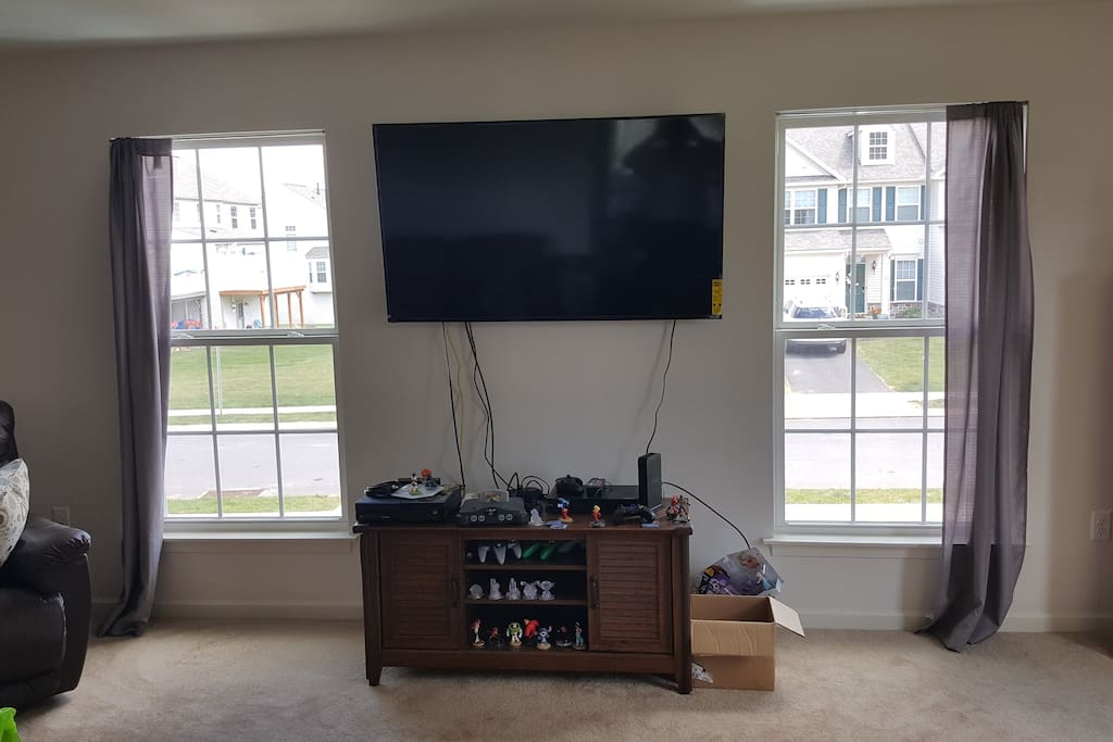 Family room (entertainment center with 65 inch mounted flatscreen HD cable tv, Ninentendo 64, XBox One/DVD player). Not pictured: Leather couch and two leather lazy-boys