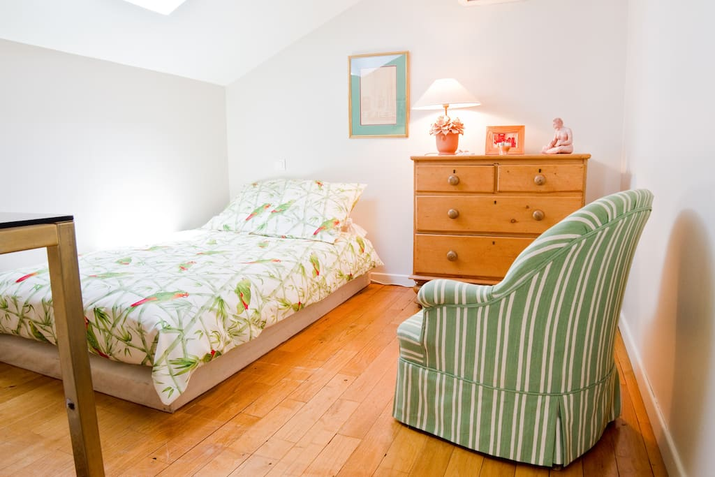 a spacious room cream and green 2