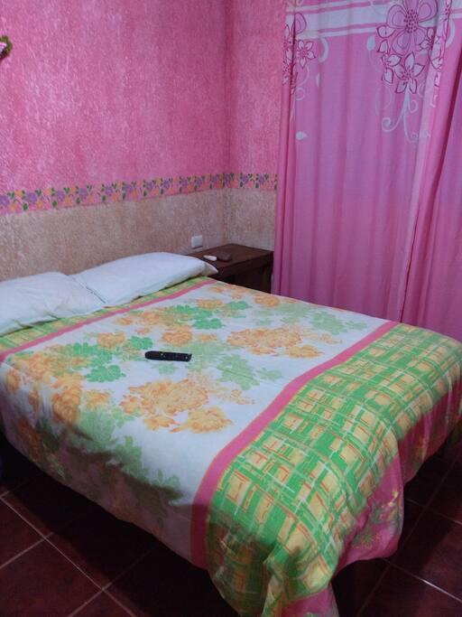 cama matrimonial con aire acondicionado, tv, cable, toallas buró también closet para la ropa