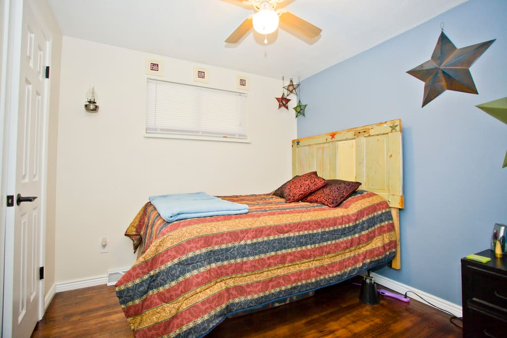 This is the bedroom!  It includes a closet with a mirror inside!