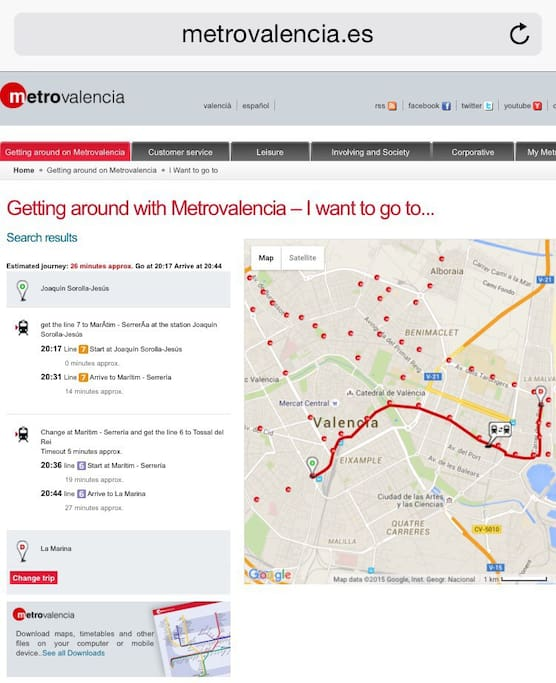 Use the metrovalencia website to find out how to get to the apartment . App Metrovalencia offline