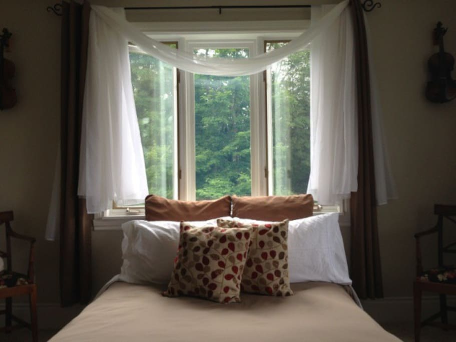 Your Treetops Ensuite private bedroom in summer. High in the treetops.