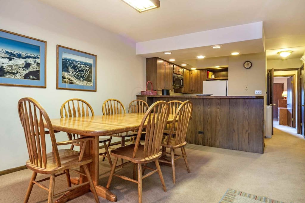 Comfortable dining table with seating for 6 guests.